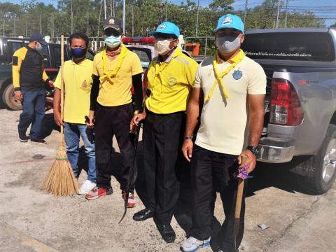 พนักงาน อบต.หนองชัยศรี ร่วมกิจกรรมจิตอาสาพัฒนาและทำความสะอาดโรงพ